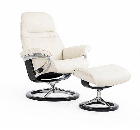 Sunrise Medium Swivel Chair and Footstool Signature Base
