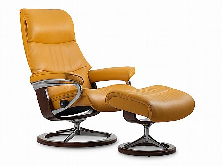 View Medium Swivel Chair and Footstool Signature Base