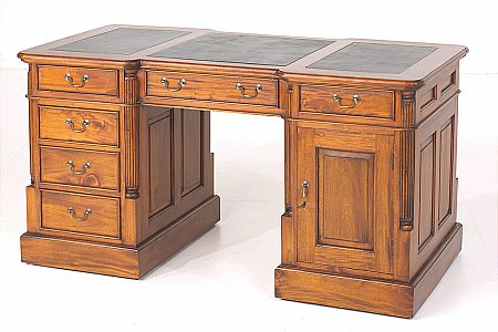 Mahogany Village Desk with Green Leather Top