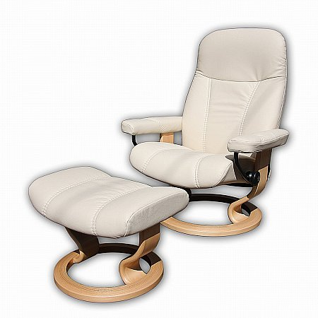 Stressless - Consul Chair and Stool (Batick Cream and Natural Base). Click for larger image.