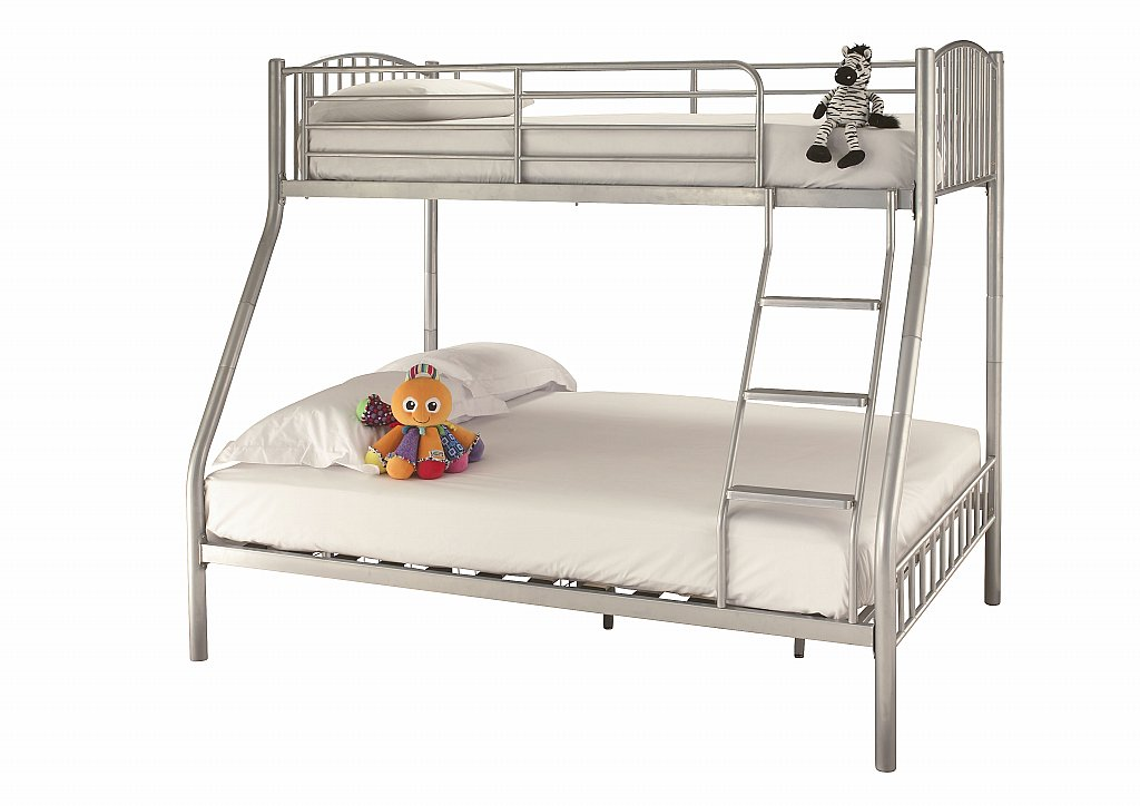 Serene - Oslo Three Sleeper Bunk Bed in Silver
