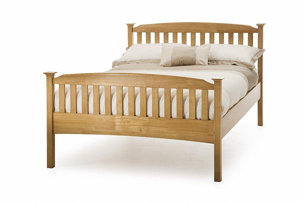 Serene - Eleanor High Foot Bedstead in Honey Oak