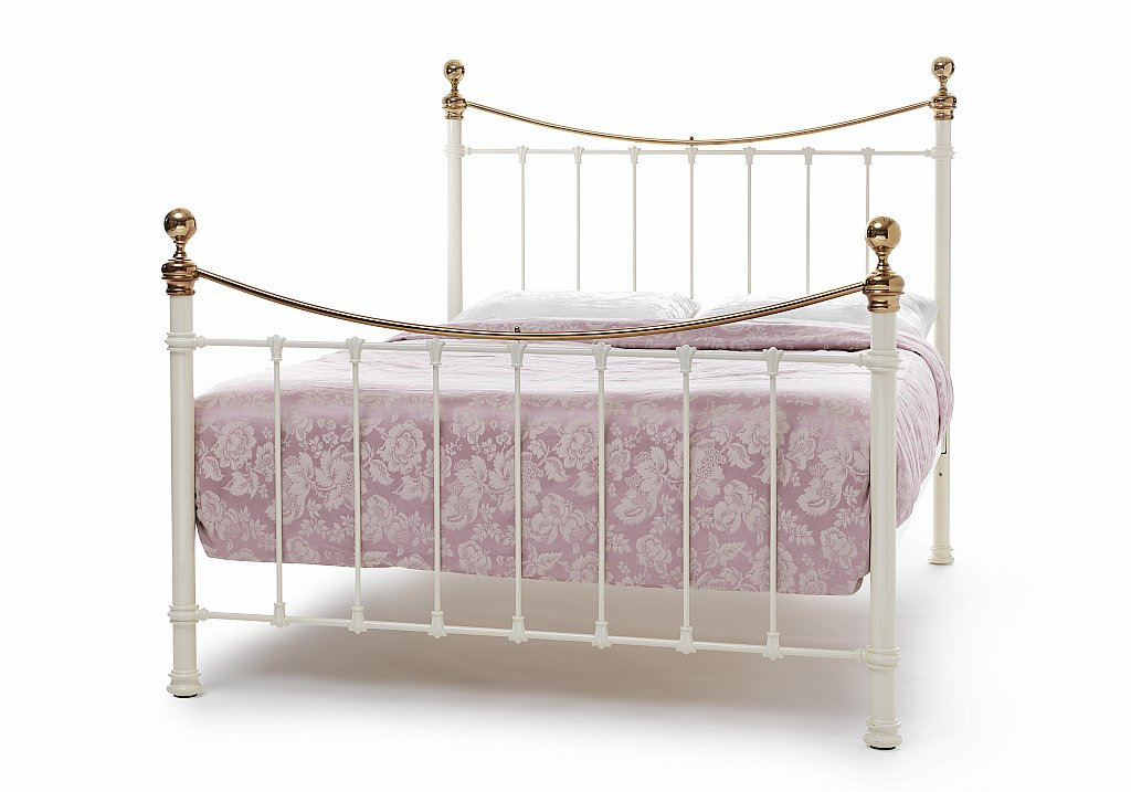 Serene - Ethan Bedstead in Ivory with Brass