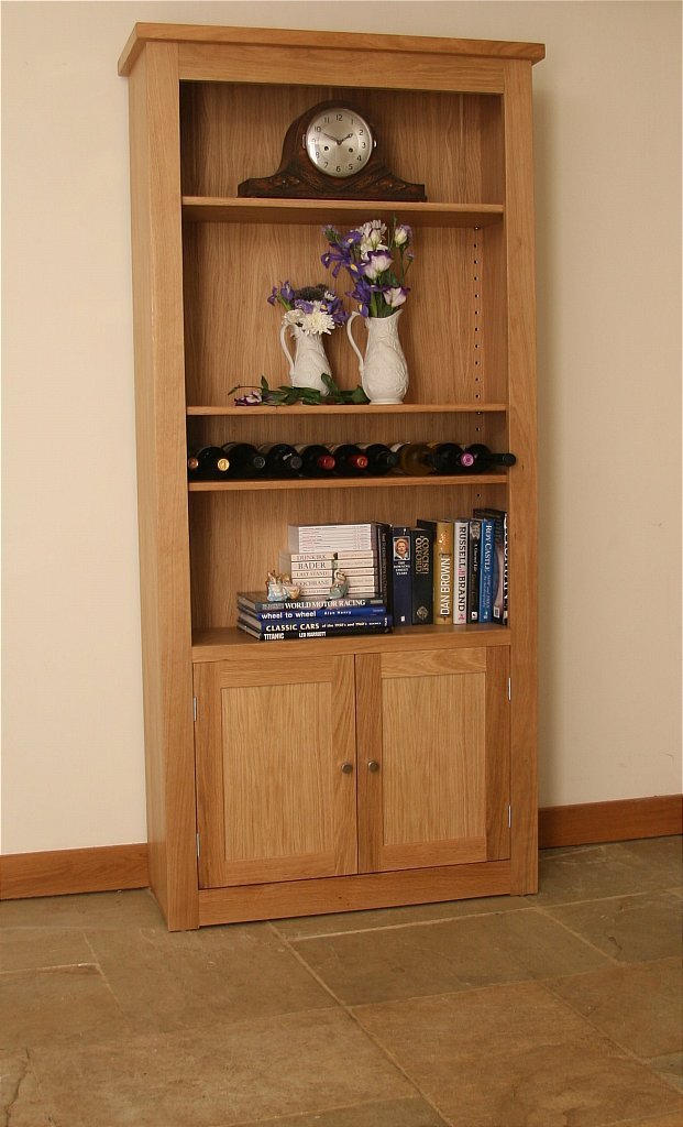 Andrena elements tall wide open bookcase with bottom doors