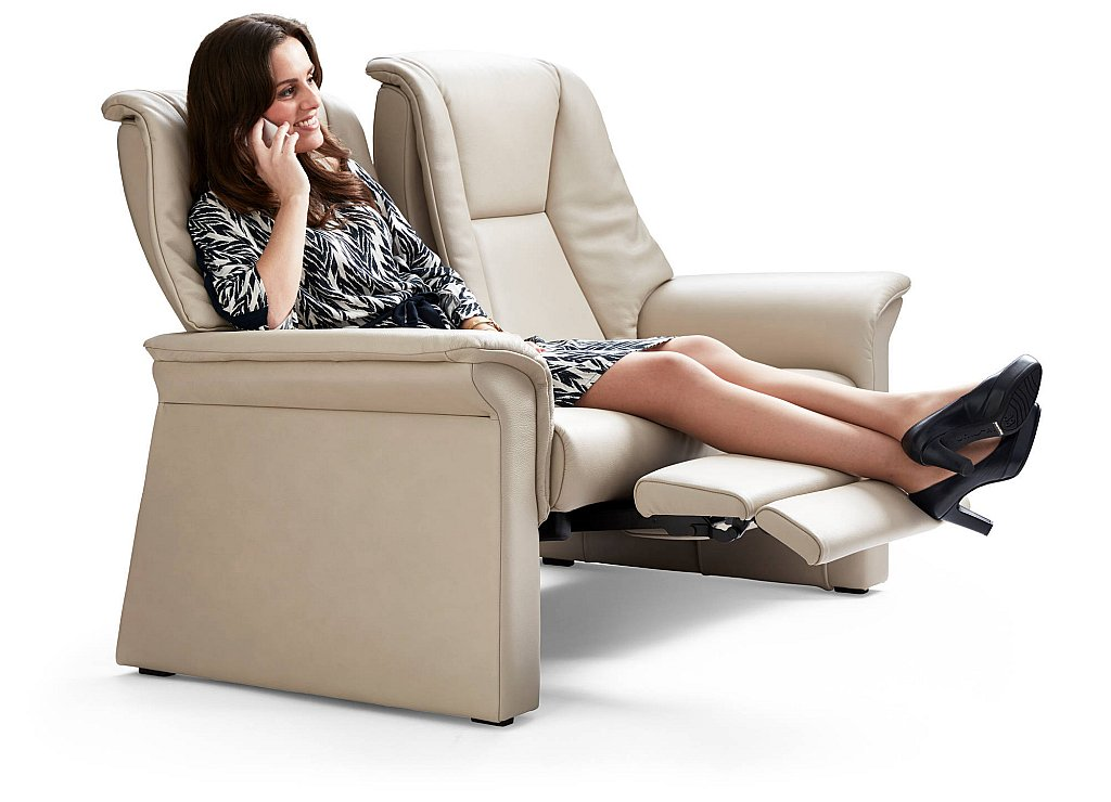 stressless lux 2 seater reclining leather sofa. Black Bedroom Furniture Sets. Home Design Ideas
