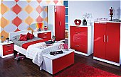 Knightsbridge Teen Bedroom Ruby-White: Available in 55 colour combinations.<br />Choice of 11 gloss -DOOR/DRAWER-  ...click for more
