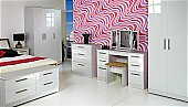 Knightsbridge Bedroom - White: Available in 55 colour combinations.<br />Choice of 11 gloss -DOOR/DRAWER-  ...click for more