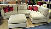 Vokins Sofas - Flame combi corner unit and large stool