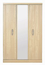 Vale Furnishers - Banbury Three Door Short Mirrored Wardrobe