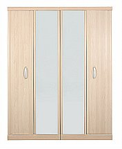 Vale Furnishers - Banbury Four Door Mirrored Wardrobe