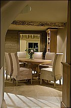 Neptune Henley Oval Ext Oak Dining Table  and Linen Chairs