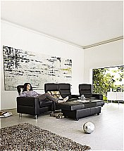 Stressless Wave Sofa and Chairs in Paloma Black - Steel Legs