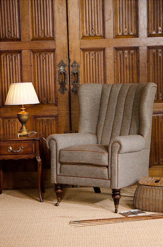 Clarke Fabric Sectional Sofa Living Room: Tetrad Dunmore Harris Tweed - Wing Chair